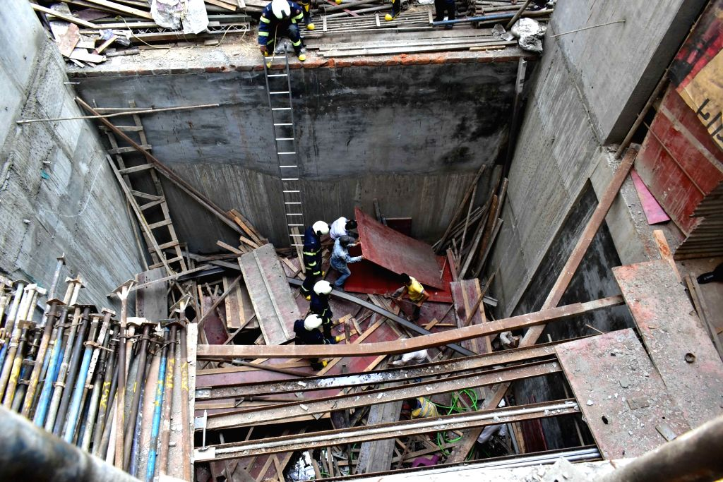 The site where a portion of a slab of an under-construction building collapsed in Mumbai's Nagpada, on April 15, 2019.