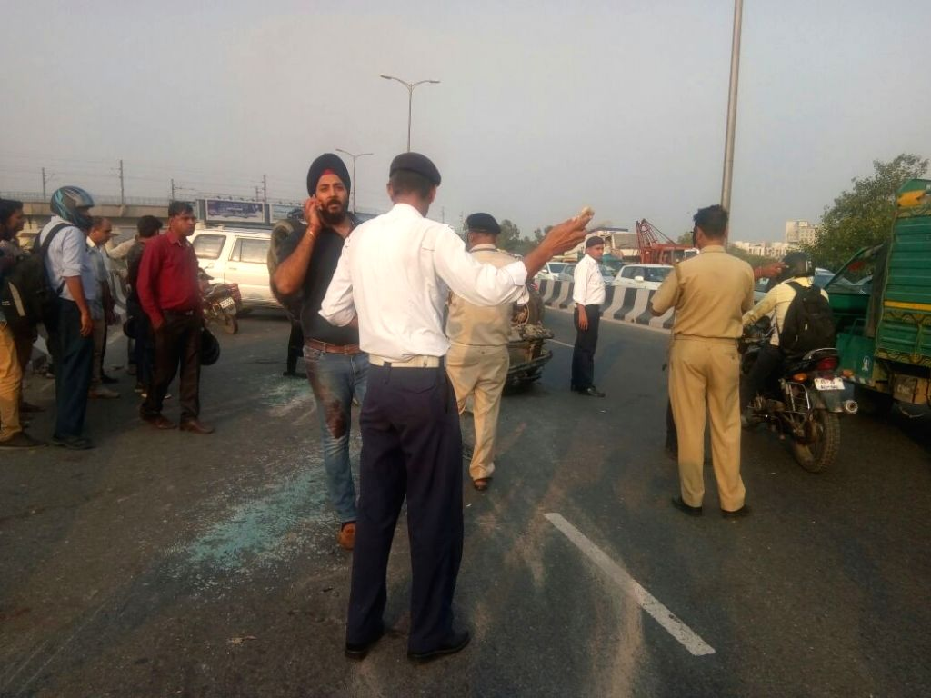 The site where a speeding Swift car collided with a two-wheeler at the Samaypur Badli flyover in Nerw Delhi on Sept 19, 2017.