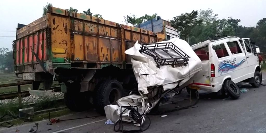 The site where a vehicle carrying a wedding party rammed against a truck at Gauripur in Dhubri district of Assam, on April 27, 2019. The accident left five dead and several others injured.