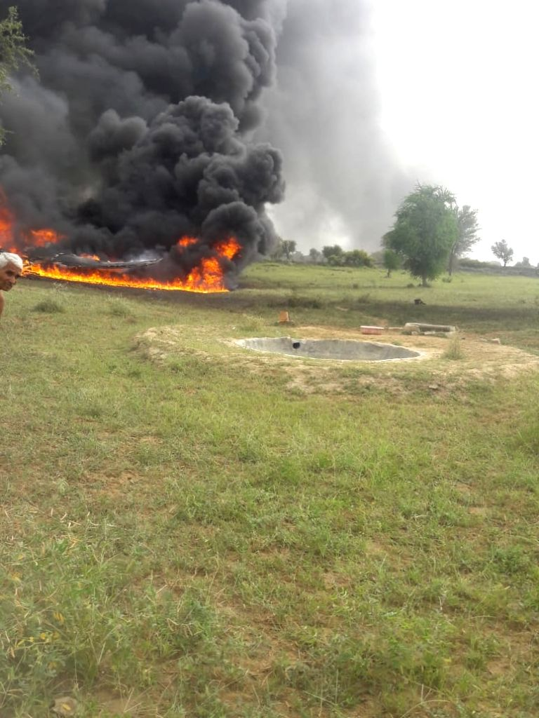 The site where an Indian Air Force MiG 27 fighter aircraft crashed near Jodhpur on Sept. 4, 2018.