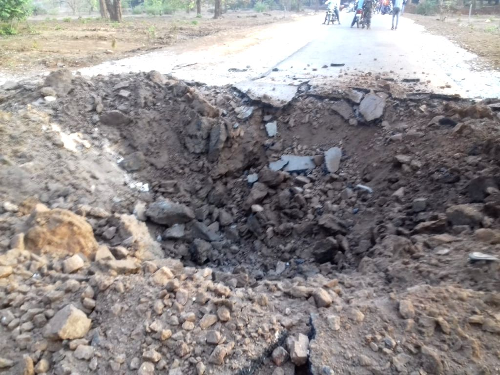 The site where Maoists exploded an improvised explosive device (IED) killing five policemen who were escorting BJP MLA Bhima Mandavi who too was killed, in Chhattisgarh's Dantewada ...