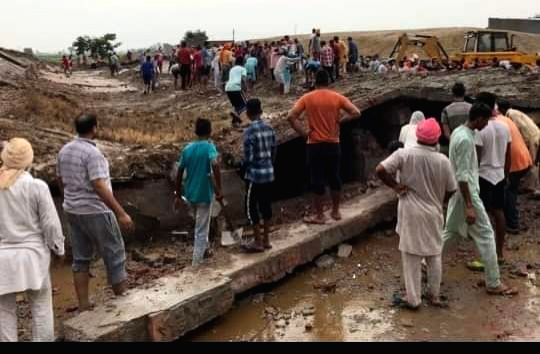 The site where the roof of a cow shelter collapsed in Bhagta Bhai Ka, Moga, Punjab on July 16, 2019.