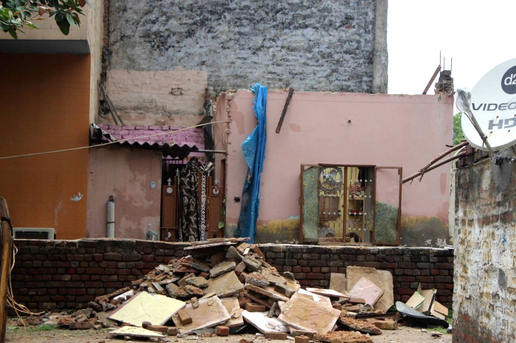 The site where the roof of a house collapsed at Dwarka's Hari Vihar area in New Delhi on July 23, 2018. Two members of a family were killed and three others were injured in the incident.