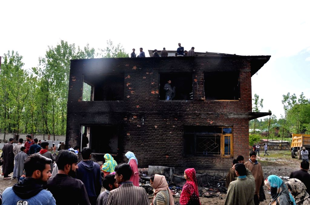 The site where two militants were killed in a gunfight with the security forces at Bijbehara in Jammu and Kashmir's Anantnag district, on April 25, 2019. Searches are underway in the area ...