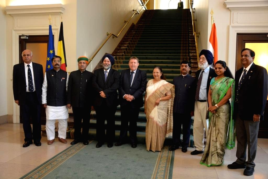The Speaker of the Lok Sabha Sumitra Mahajan with Indian Parliamentary delegation being welcomed at the Belgian Parliament on June 25, 2015.