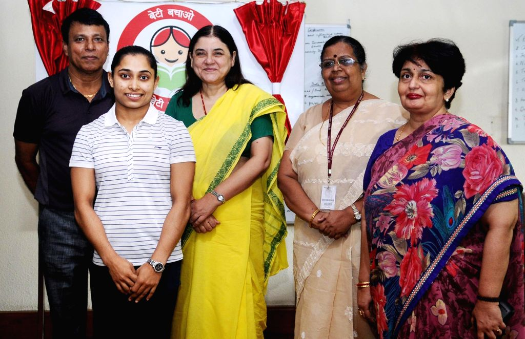 The Sportsperson, Contestant for Rio Olympics and BBBP Ambassador for Gomati District, Tripura Dipa Karmakar calls on Union Minister for Women and Child Development Maneka Gandhi, in New ... - Development Maneka Gandhi