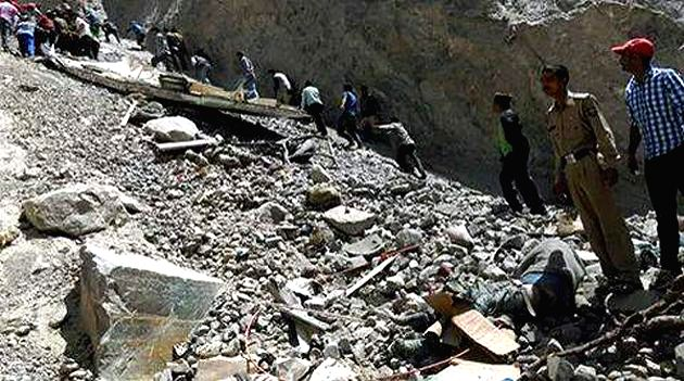 The spot from where an overcrowded mini bus skidded off the road and fell into the Baspa river, some 300 feet below the road killing at least 23 and injuring 20 others, near Sangla of Himachal ...