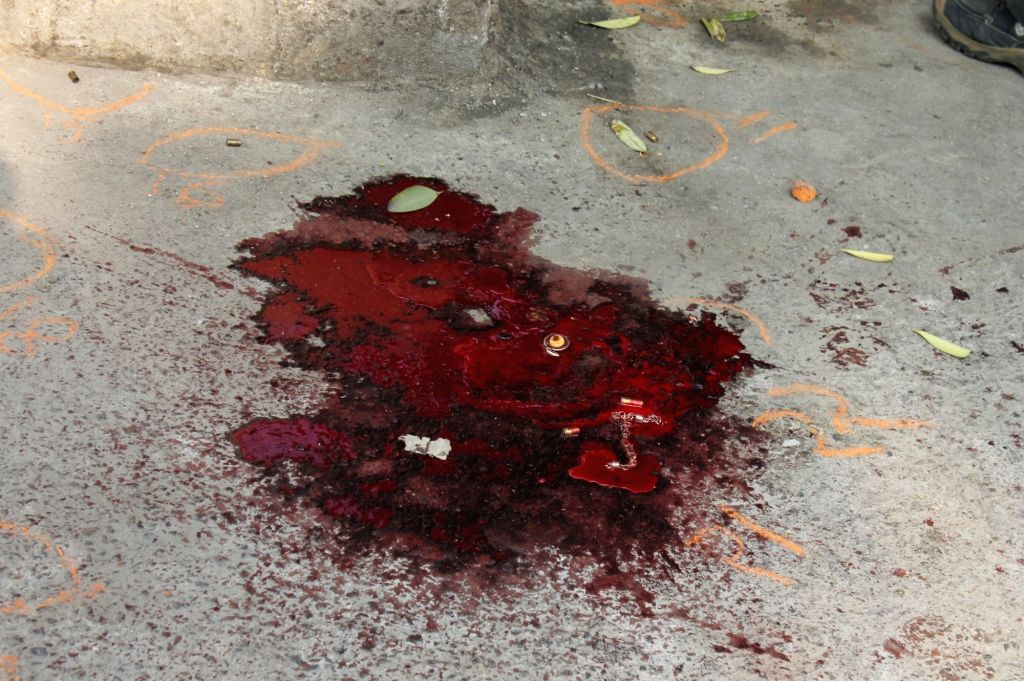 The spot where a 30-year-old man who was buying some food items from a shop near Rohini Court, was gunned down by four attackers in New Delhi on Jan 15, 2018.
