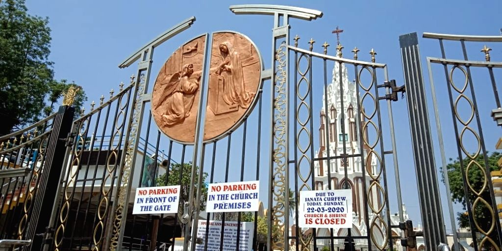 The St. Mary's Basilica church remains closed during nationwide 'Janata Curfew' imposed in the wake of increasing cases of COVID-19 amid coronavirus pandemic, in Bengaluru on March 22, ...
