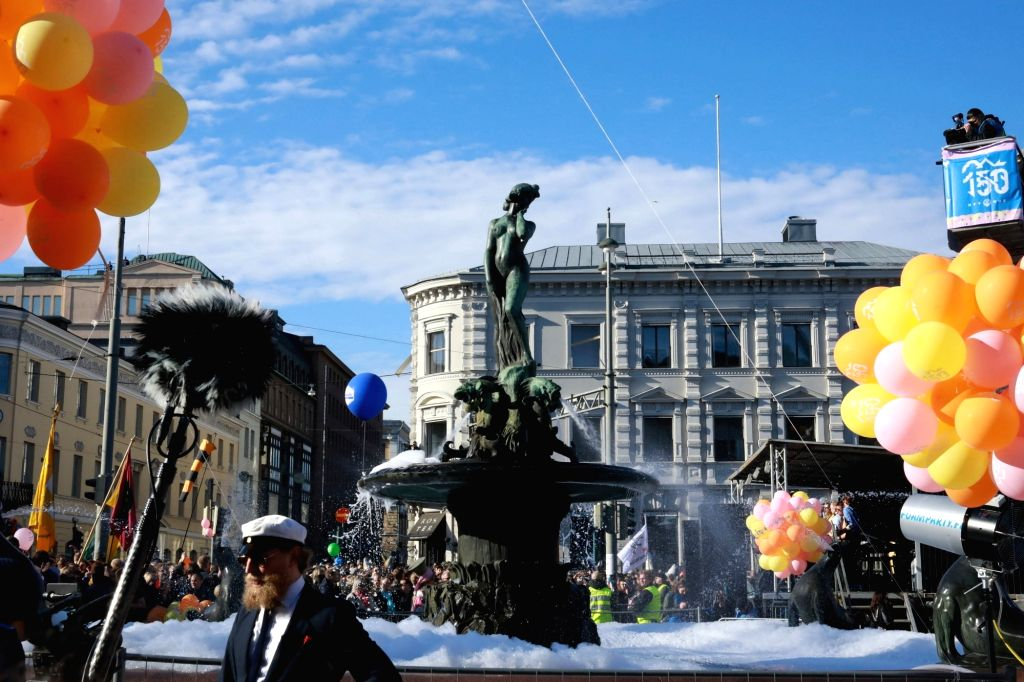 The statue of Havis Amanda is seen near the southern waterfront of Helsinki, Finland. (File Photo: Xinhua/Li Jizhi/IANS)