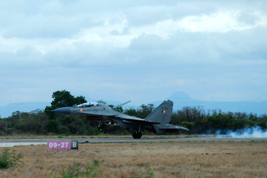 The Su-30 taking off with BrahMos missile.