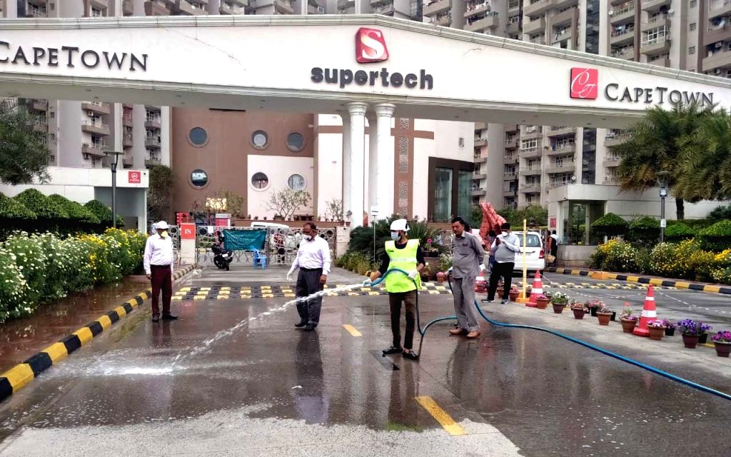 The Supertech Capetown Group Housing sector 74 Noida that was sealed after one of the residents tested positive for COVID-19 infection, being sanitised on March 21, 2020.