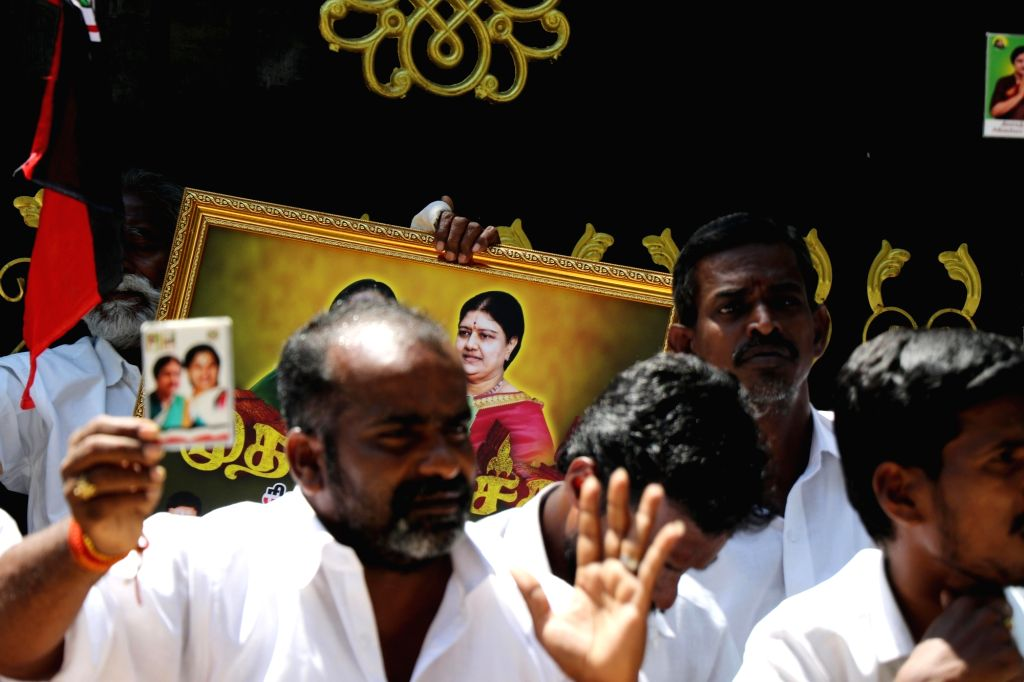 The supporters of Sasikala protest in front of her house in chennai after Sasikala declared to step out of politics on Thursday,04th March, 2021.