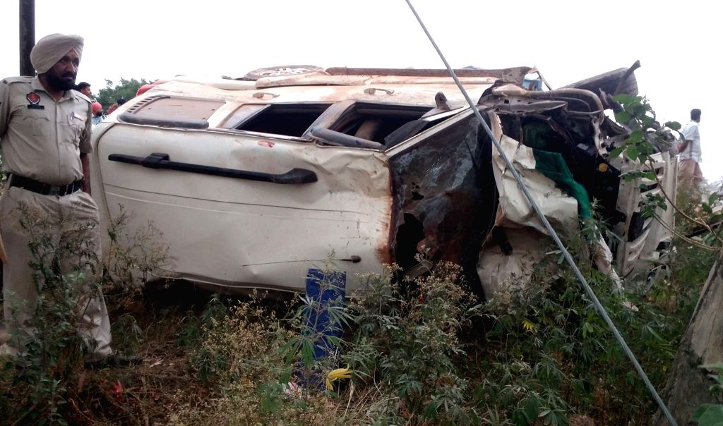 The SUV that hit vehicles parked outside a roadside eatery killing seven people in Beas town around 40 km from Amritsar on May 21, 2017.