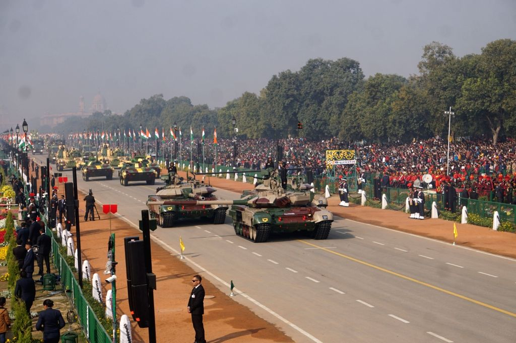 The T90 Bheeshma Main Battle Tanks roll down the Rajpath during the 71st Republic Day parade, in New Delhi on Jan 26, 2020.