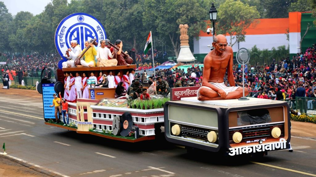 The tableau of All India Radio passes through Rajpath during the full dress rehearsal for the Republic Day Parade 2018, in New Delhi Jan 23, 2018. The tableau showcases AIR's historic ...