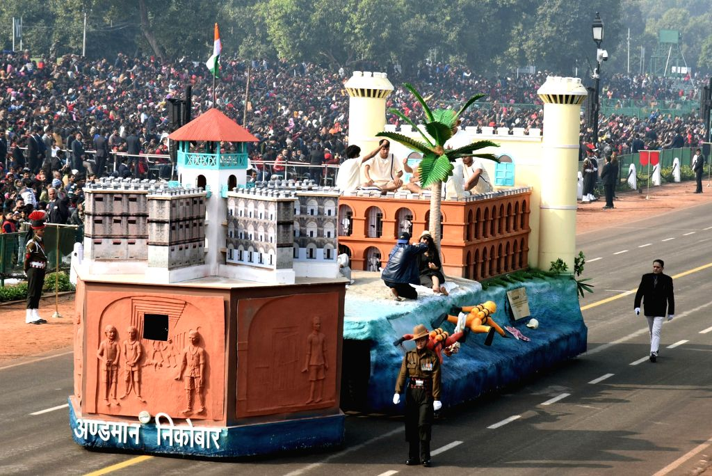 The tableau of Andaman Nicobar during the full dress rehearsals of 2019 Republic Day parade at Rajpath in New Delhi, on Jan 23, 2019.