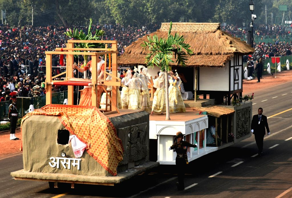 The tableau of Assam during the full dress rehearsals of 2019 Republic Day parade at Rajpath in New Delhi, on Jan 23, 2019.