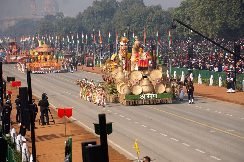 The tableau of Assam rolls down the Rajpath during the 71st Republic Day parade, in New Delhi on Jan 26, 2020.