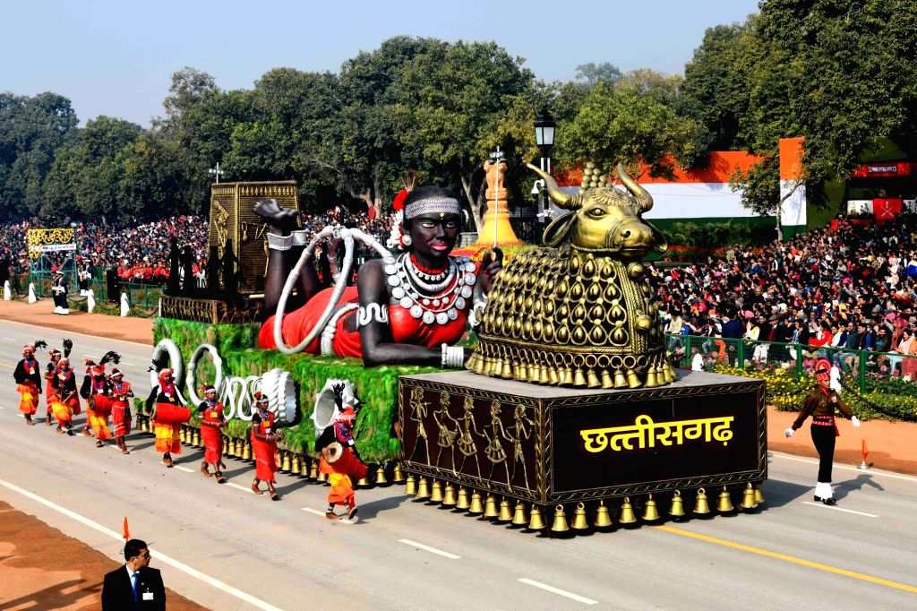 The tableau of Chhattisgarh rolls down the Rajpath during the 71st Republic Day parade, in New Delhi on Jan 26, 2020.