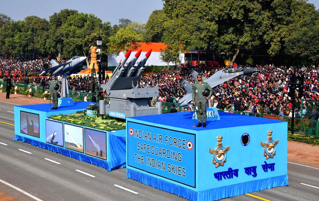 The tableau of Indian Air Force during 2019 Republic Day Parade on Rajpath in New Delhi on Jan 26, 2019.