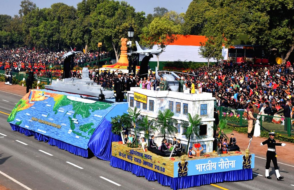 The tableau of Indian Navy during 2019 Republic Day Parade on Rajpath in New Delhi on Jan 26, 2019.