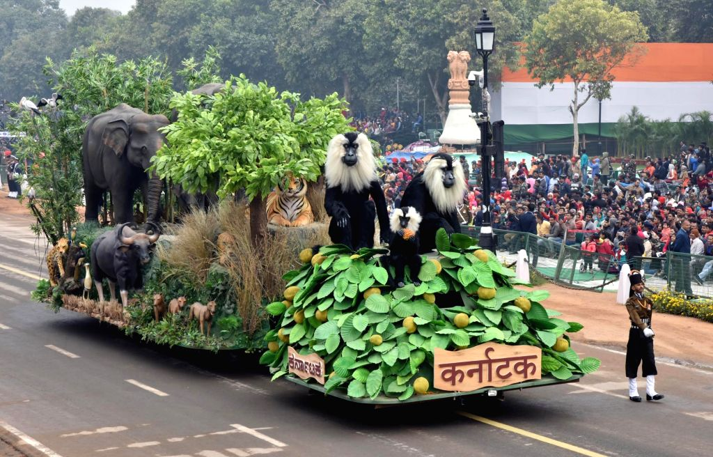 The tableau of Karnataka passes through the Rajpath during the full dress rehearsal for the Republic Day Parade-2018, in New Delhi on January 23, 2018.