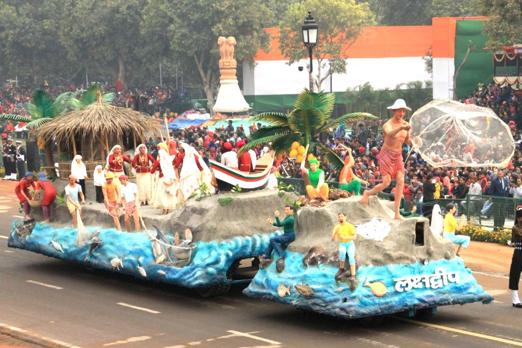 The tableau of Lakshadweep passes through Rajpath during the full dress rehearsal for Republic Day Parade-2018 in New Delhi on Jan 23, 2018.