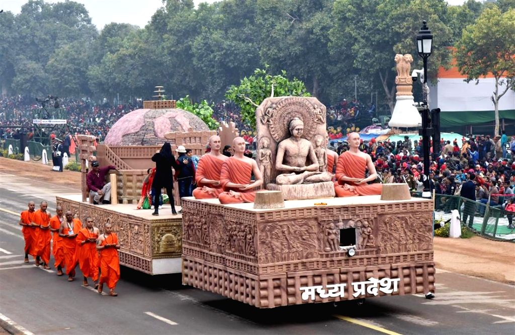 The tableau of Madhya Pradesh passes through Rajpath during the full dress rehearsal for Republic Day Parade-2018 in New Delhi on Jan 23, 2018.