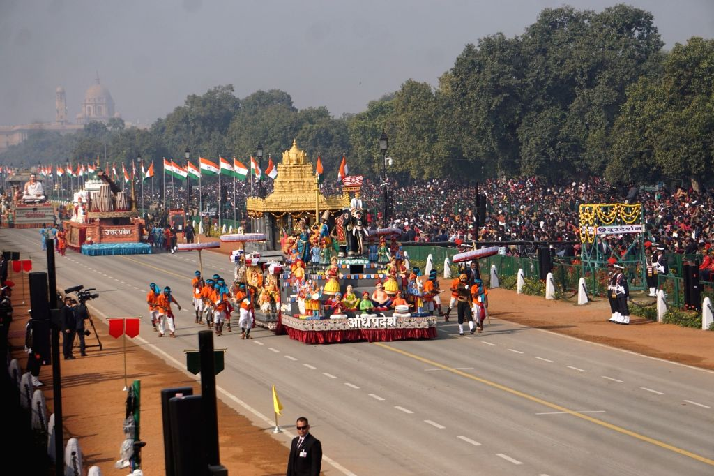 The tableau of Madhya Pradesh rolls down the Rajpath during the 71st Republic Day parade, in New Delhi on Jan 26, 2020.