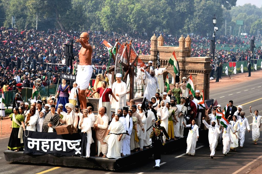 The tableau of Maharashtra during the full dress rehearsals of 2019 Republic Day parade at Rajpath in New Delhi, on Jan 23, 2019.
