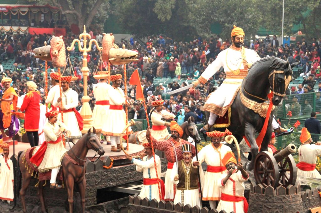 The tableau of Maharashtra passes through Rajpath during the full dress rehearsal for Republic Day Parade-2018 in New Delhi on Jan 23, 2018.