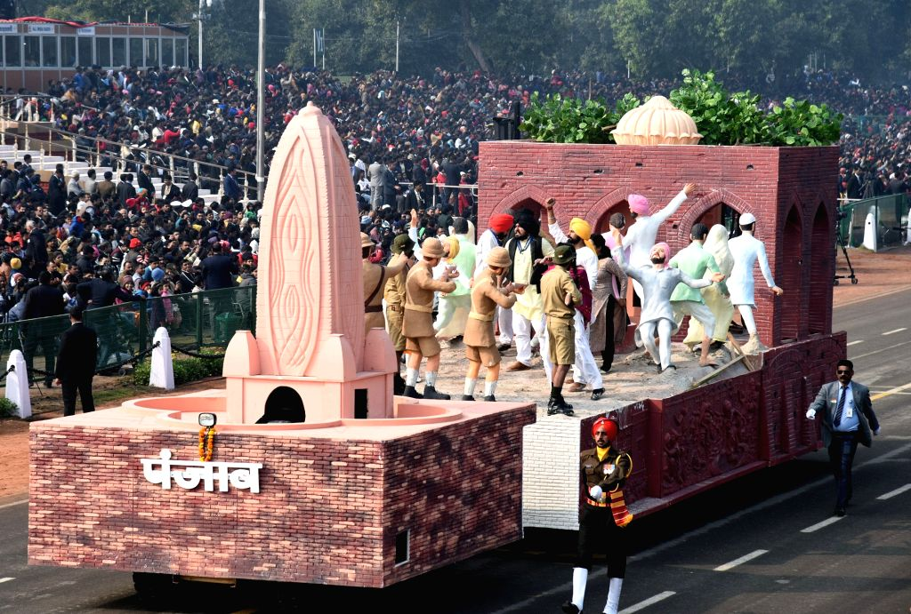 The tableau of Punjap during the full dress rehearsals of 2019 Republic Day parade at Rajpath in New Delhi, on Jan 23, 2019.