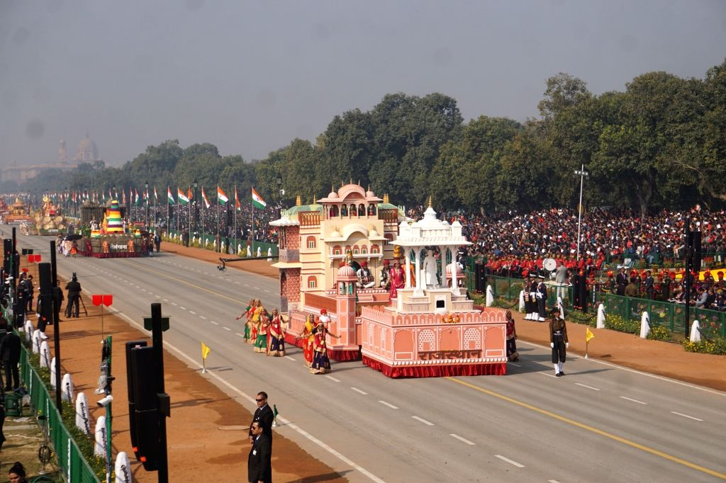 The tableau of Rajasthan rolls down the Rajpath during the 71st Republic Day parade, in New Delhi on Jan 26, 2020.