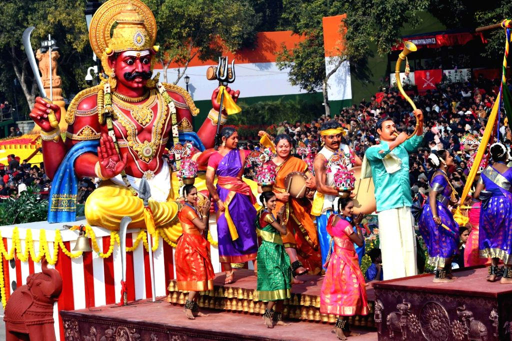 The tableau of Tamil Nadu rolls down the Rajpath during the 71st Republic Day parade, in New Delhi on Jan 26, 2020.