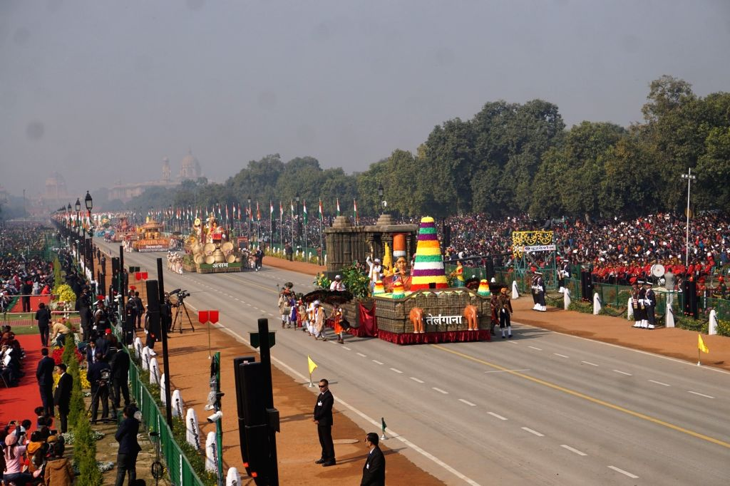 The tableau of Telangana rolls down the Rajpath during the 71st Republic Day parade, in New Delhi on Jan 26, 2020.
