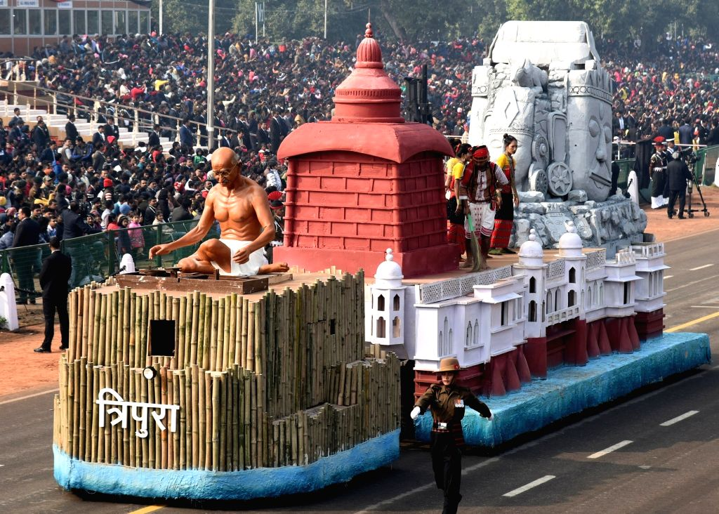 The tableau of Tripura during the full dress rehearsals of 2019 Republic Day parade at Rajpath in New Delhi, on Jan 23, 2019.