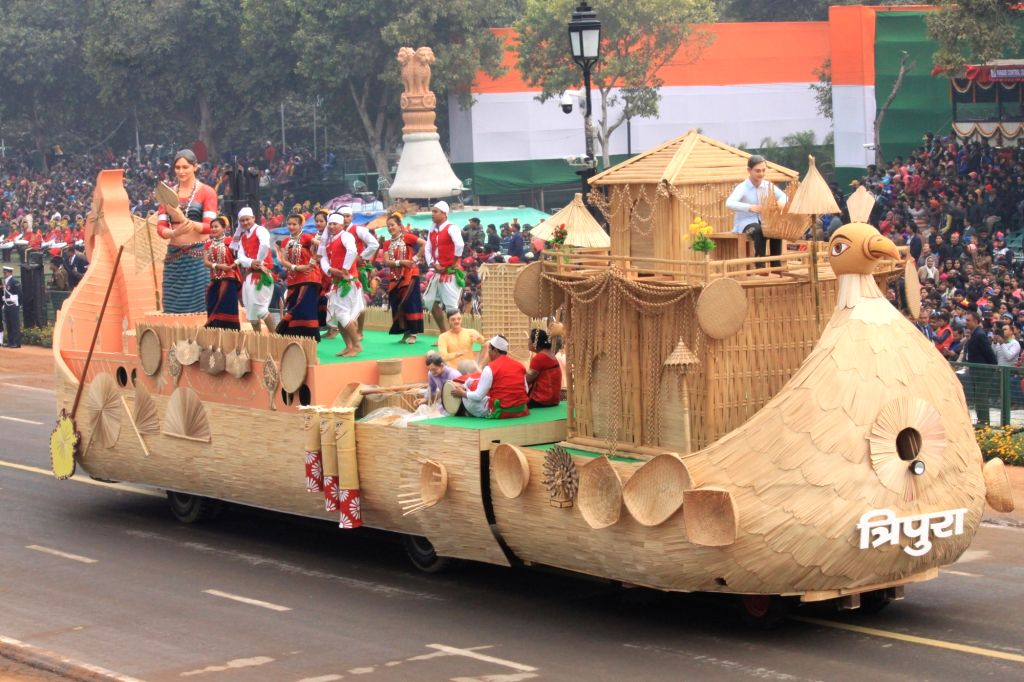 The tableau of Tripura passes through Rajpath during the full dress rehearsal for Republic Day Parade-2018 in New Delhi on Jan 23, 2018.
