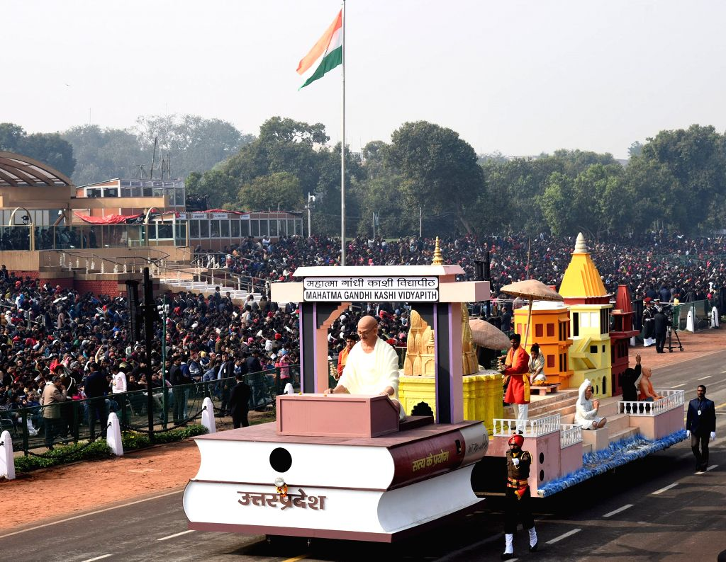 The tableau of Uttar Pradesh during the full dress rehearsals of 2019 Republic Day parade at Rajpath in New Delhi, on Jan 23, 2019.
