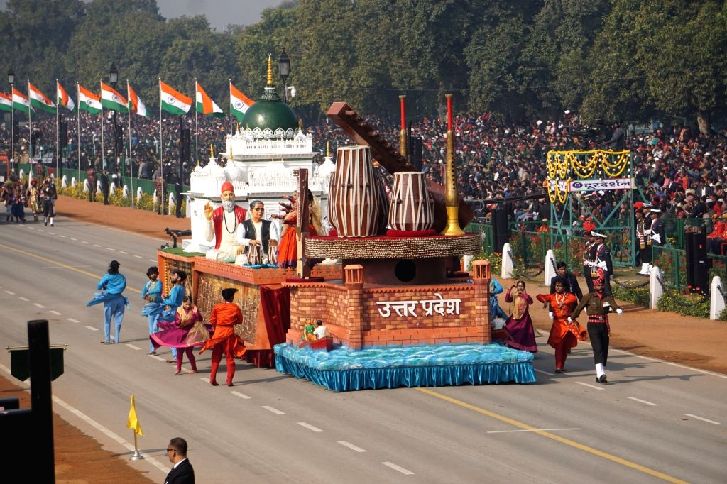 The tableau of Uttar Pradesh rolls down the Rajpath during the 71st Republic Day parade, in New Delhi on Jan 26, 2020.
