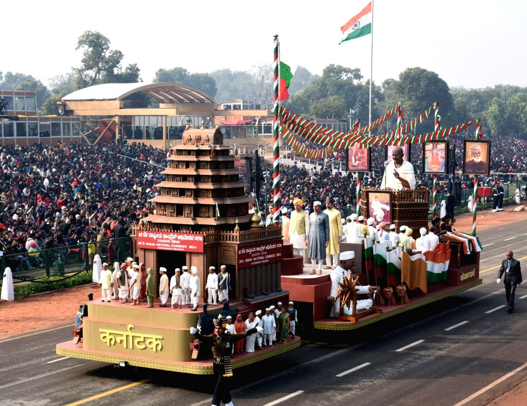 The tableau of Uttarakhand during the full dress rehearsals of 2019 Republic Day parade at Rajpath in New Delhi, on Jan 23, 2019.