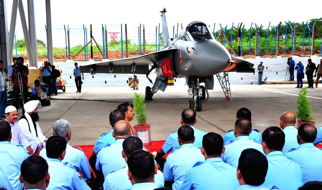 The Tejas Light Combat Aircraft (LCA) during its induction ceremony at HAL, in Bengaluru on July 1, 2016.
