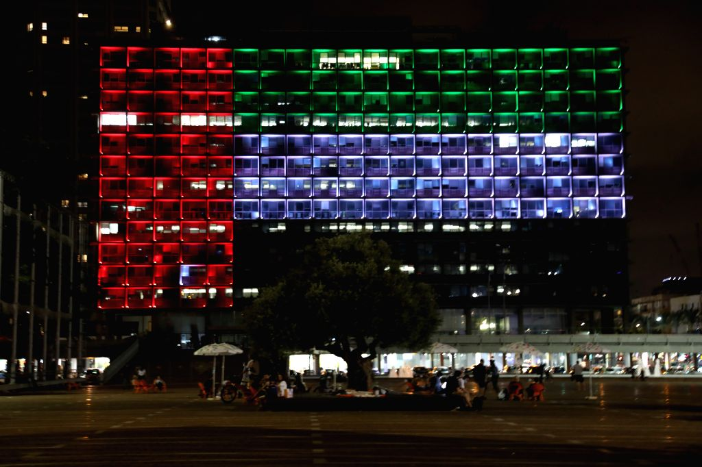The Tel Aviv Municipality Hall is illuminated with the colors of the national flag of the United Arab Emirates in the central Israeli city of Tel Aviv on Aug. 13, ... - Benjamin Netanyahu