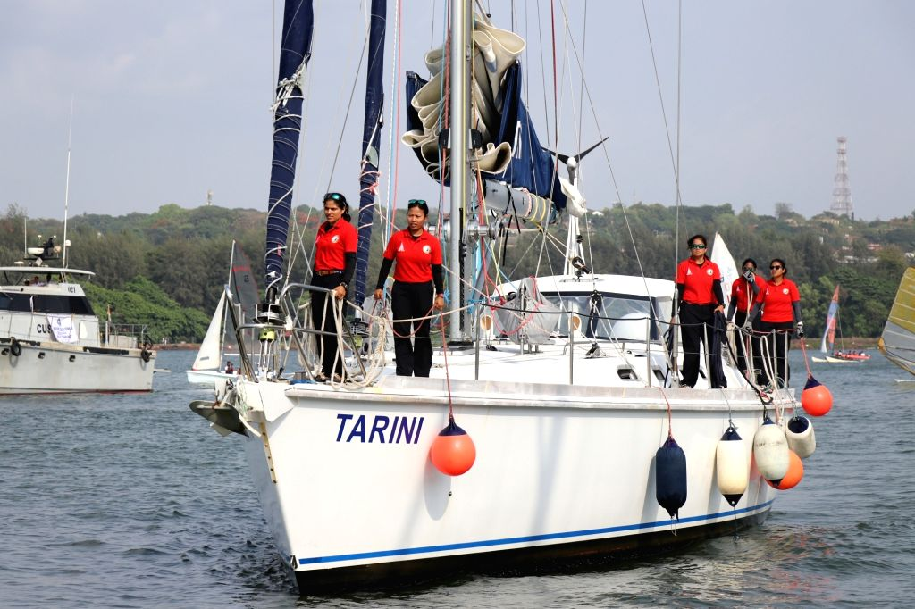The The Indian Navy's sailing boat INSV Tarini, with its six-member all-women crew arrives in Goa on May 21, 2018. The vessel that was flagged-off by Nirmala Sitharaman from INS Mandovi boat ...