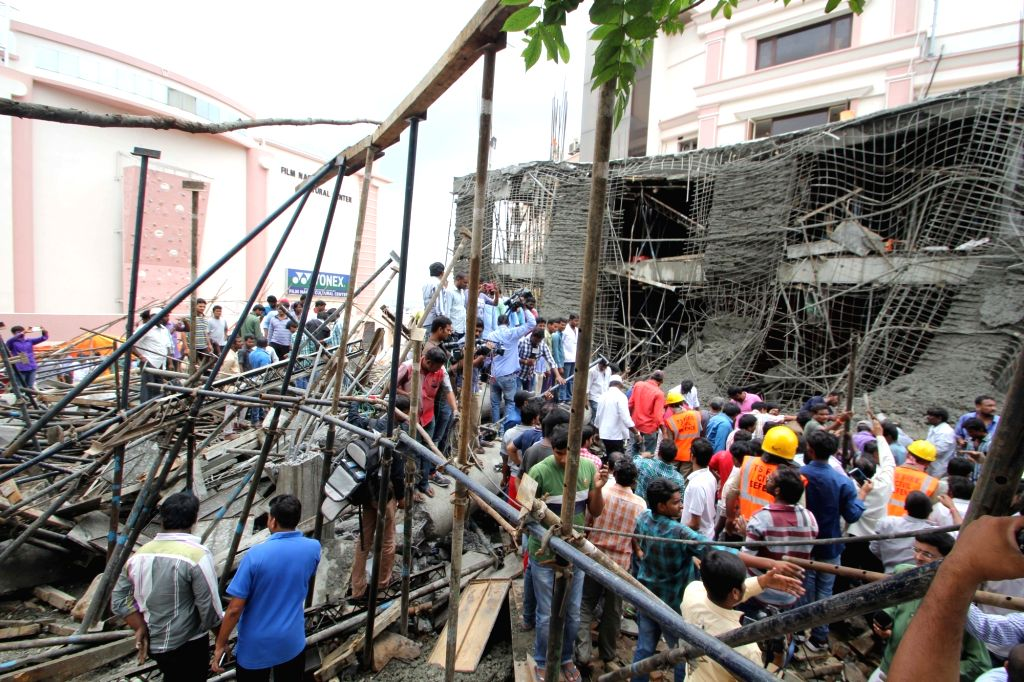 The three-storey under construction building that collapsed at Film Nagar trapping eight to 10 labourers in Hyderabad on July 24, 2016.