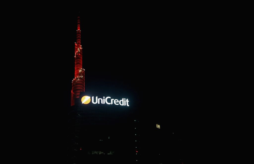 The top of the UniCredit Tower is illuminated with red light to celebrate the Chinese Lunar New Year in Milan, Italy, on Jan. 25, 2020.