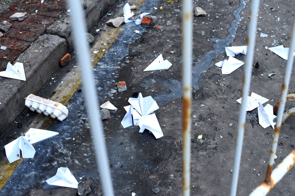 The Turkey embassy in Moscow is seen soiled after it was attacked during a protest against the downing of a Russian warplane by Turkey, in Moscow, Russia, on Nov. ...