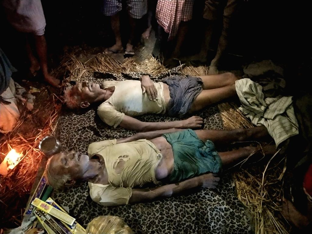 The two persons who died after being struck by lightening in Bansi, Bihar on July 19, 2019.