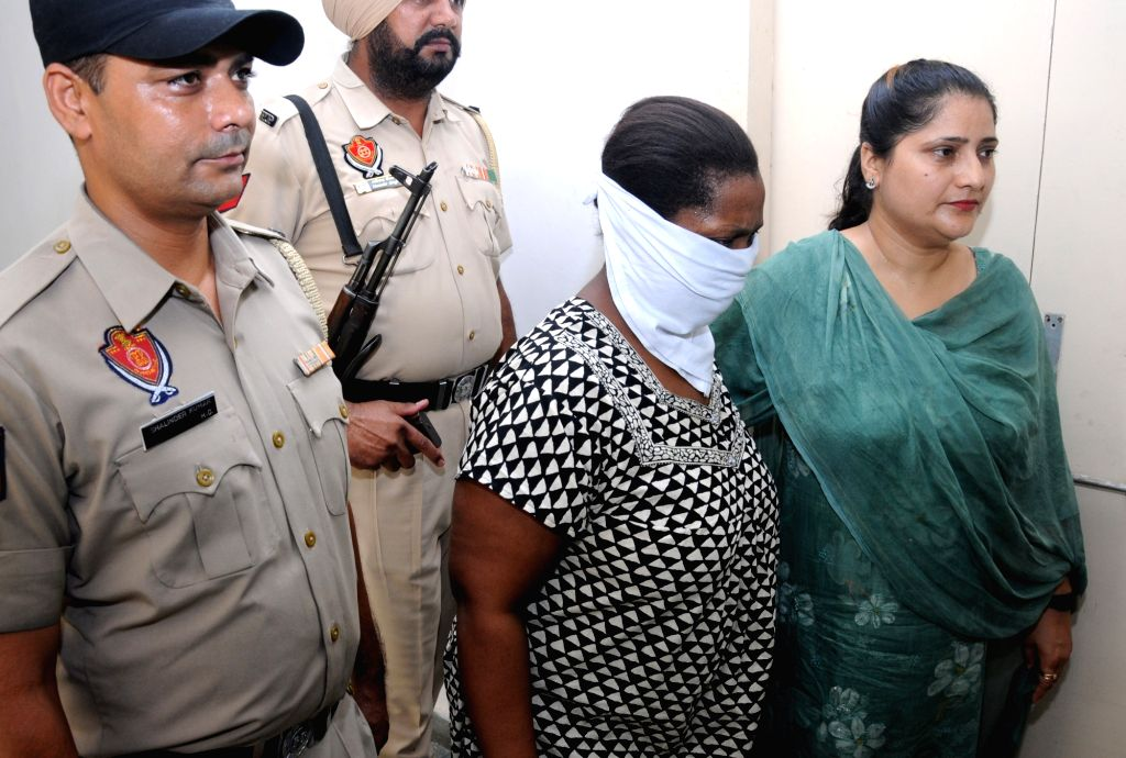 The Ugandan woman accused of smuggling heroin, in police custody in Amritsar on July 21, 2018.