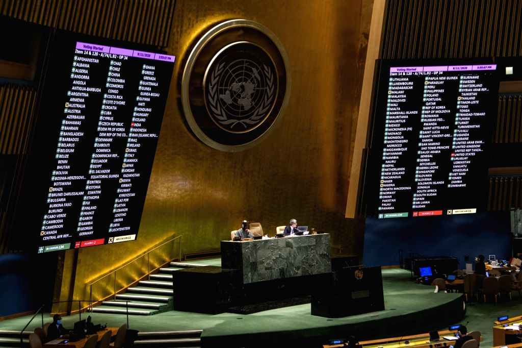 """The UN General Assembly votes on draft resolution A/74/L.92 under agenda item 14 entitled """"Comprehensive and coordinated response to the COVID-19 ..."""